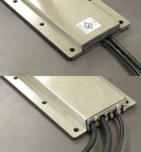 Opciones de placas de cubierta de salida para cables NEMA 2 (superior) y NEMA 4/4X (inferior)